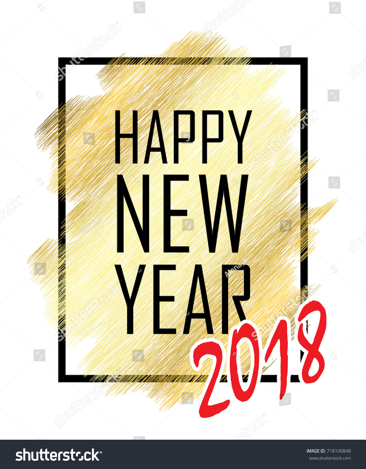 happy new year 2018 text gold happy new year or christmas isolated background black