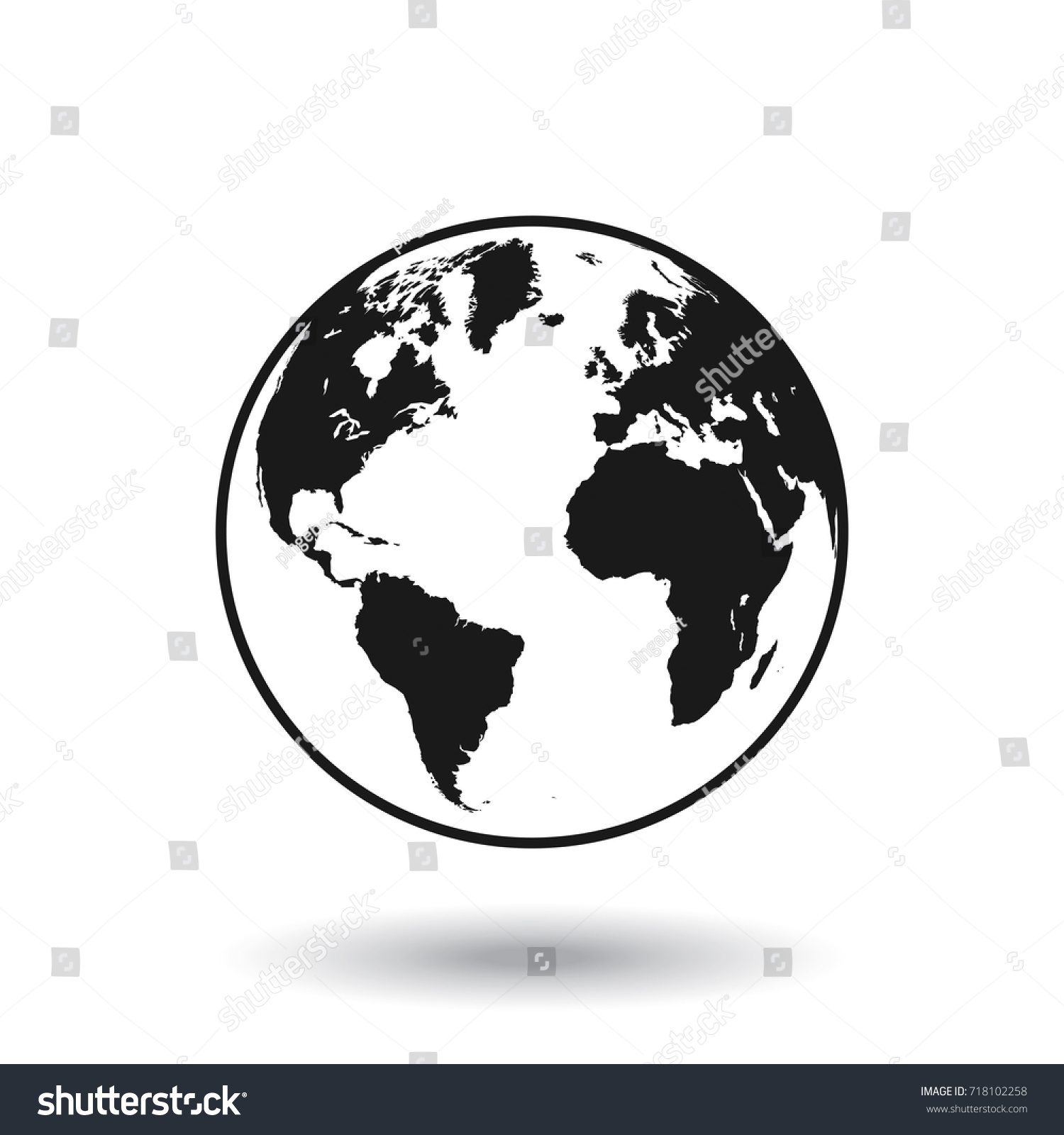 Detailed black white world map mapped vectores en stock 718102258 detailed black and white world map mapped on a globe isolated on white background gumiabroncs Gallery