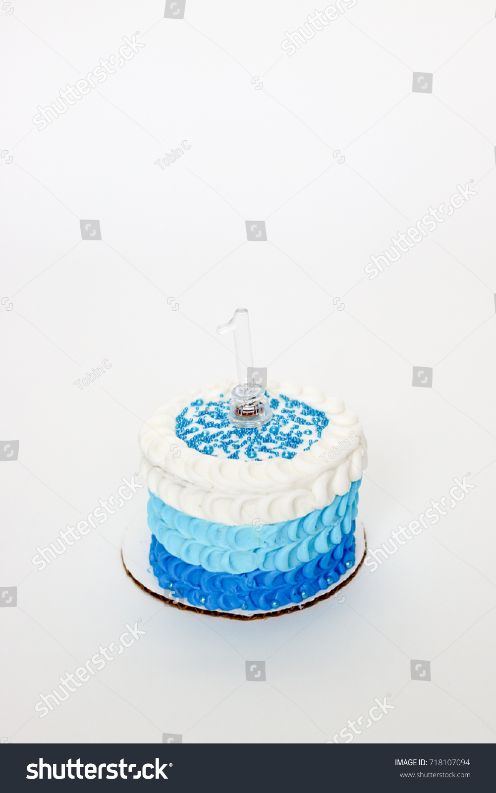 Delicious Blue Ombre Icing Cake For Baby Boys First Birthday Ez