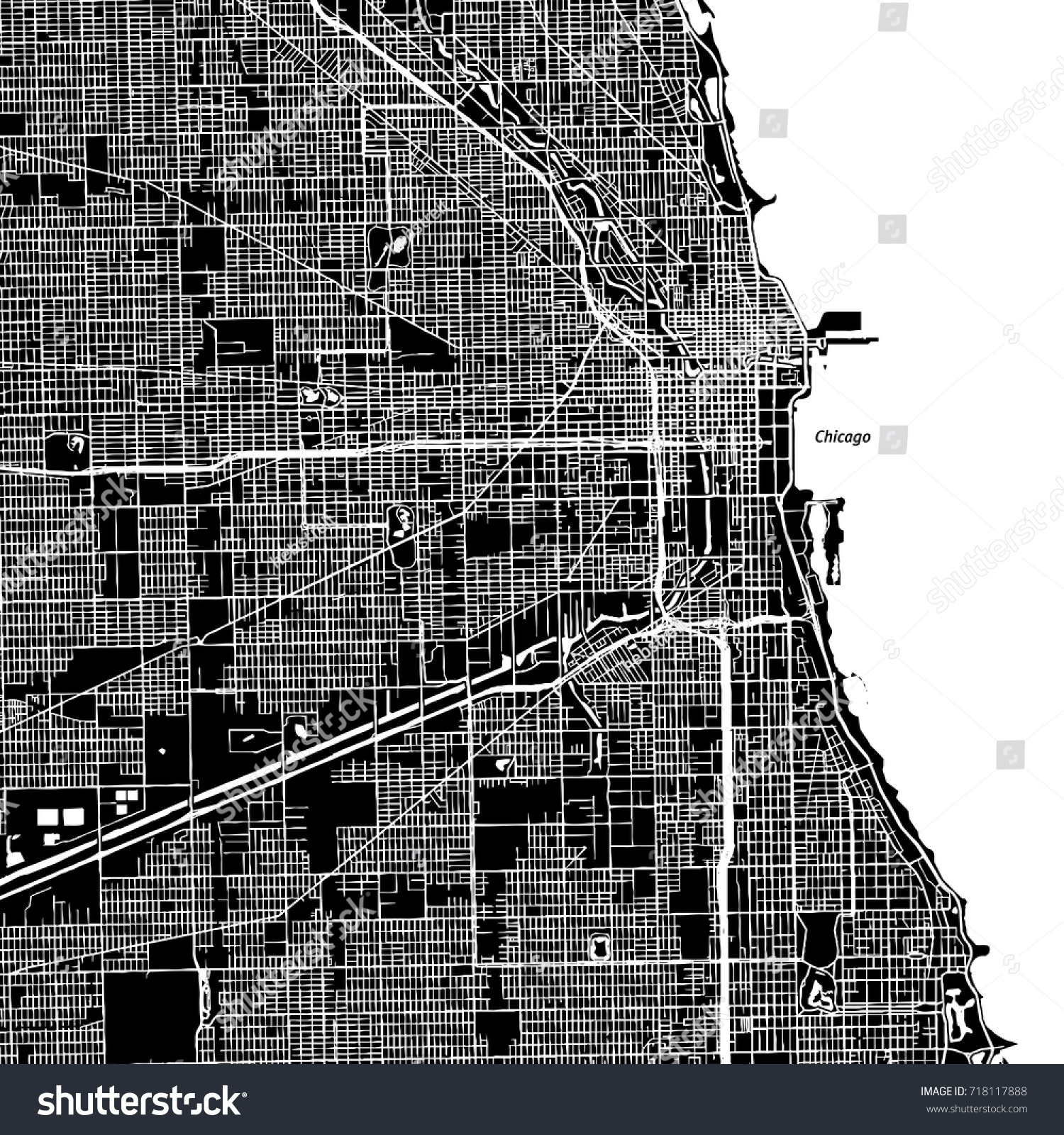 Chicago Illinois Downtown Vector Map City Stock-Vrgrafik ... on