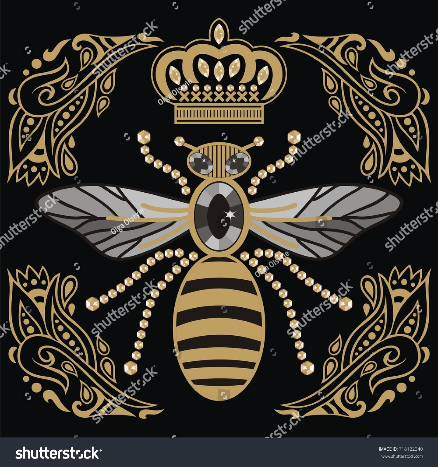 Vector Antique Heraldry Emblem Bee Ornate Stock Vector Royalty Free