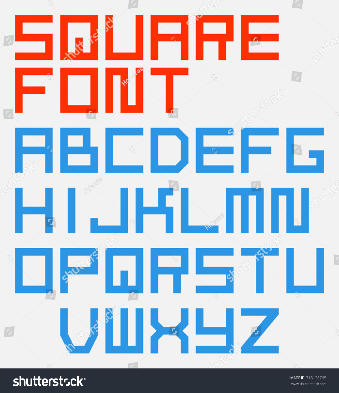Square Blocky Geometric Vector Font English Alphabet With Capital Letters