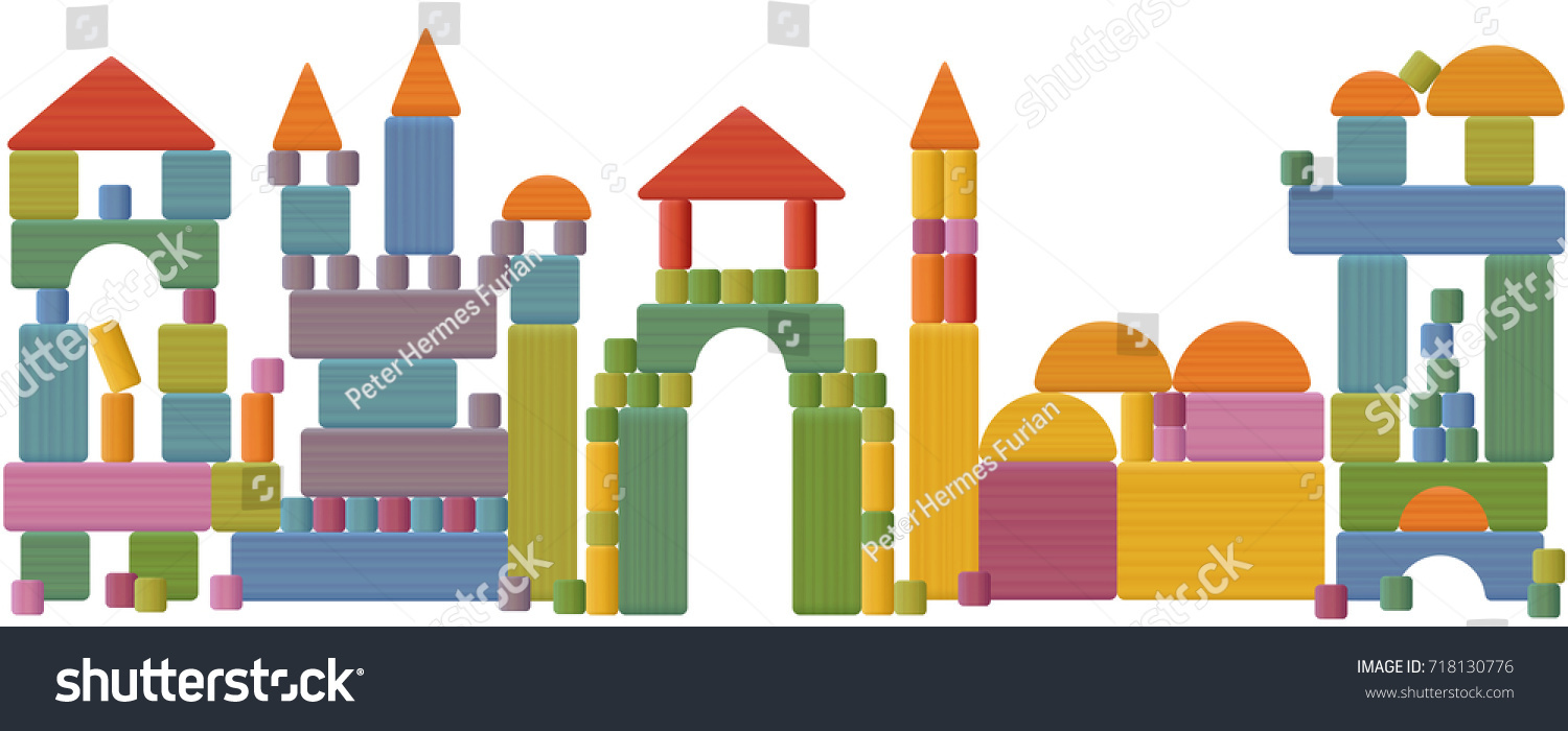 Toy blocks city skyline fabulous buildings stock vector 718130776 toy blocks city skyline fabulous buildings towers castles churches and archways made gamestrikefo Gallery