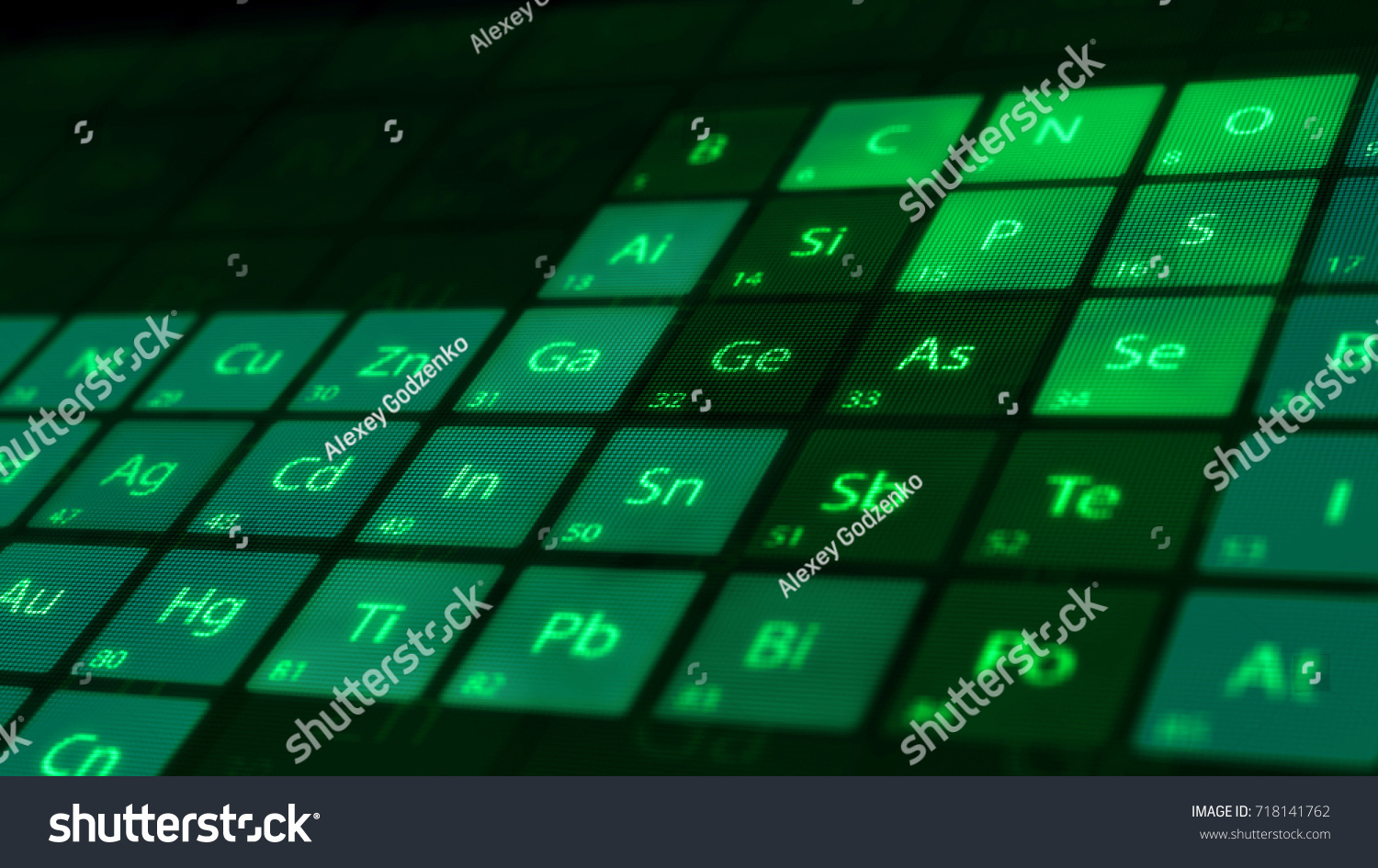 Perspective closeup periodic table elements on stock illustration perspective closeup of the periodic table of the elements on a dark background macro shot gamestrikefo Choice Image