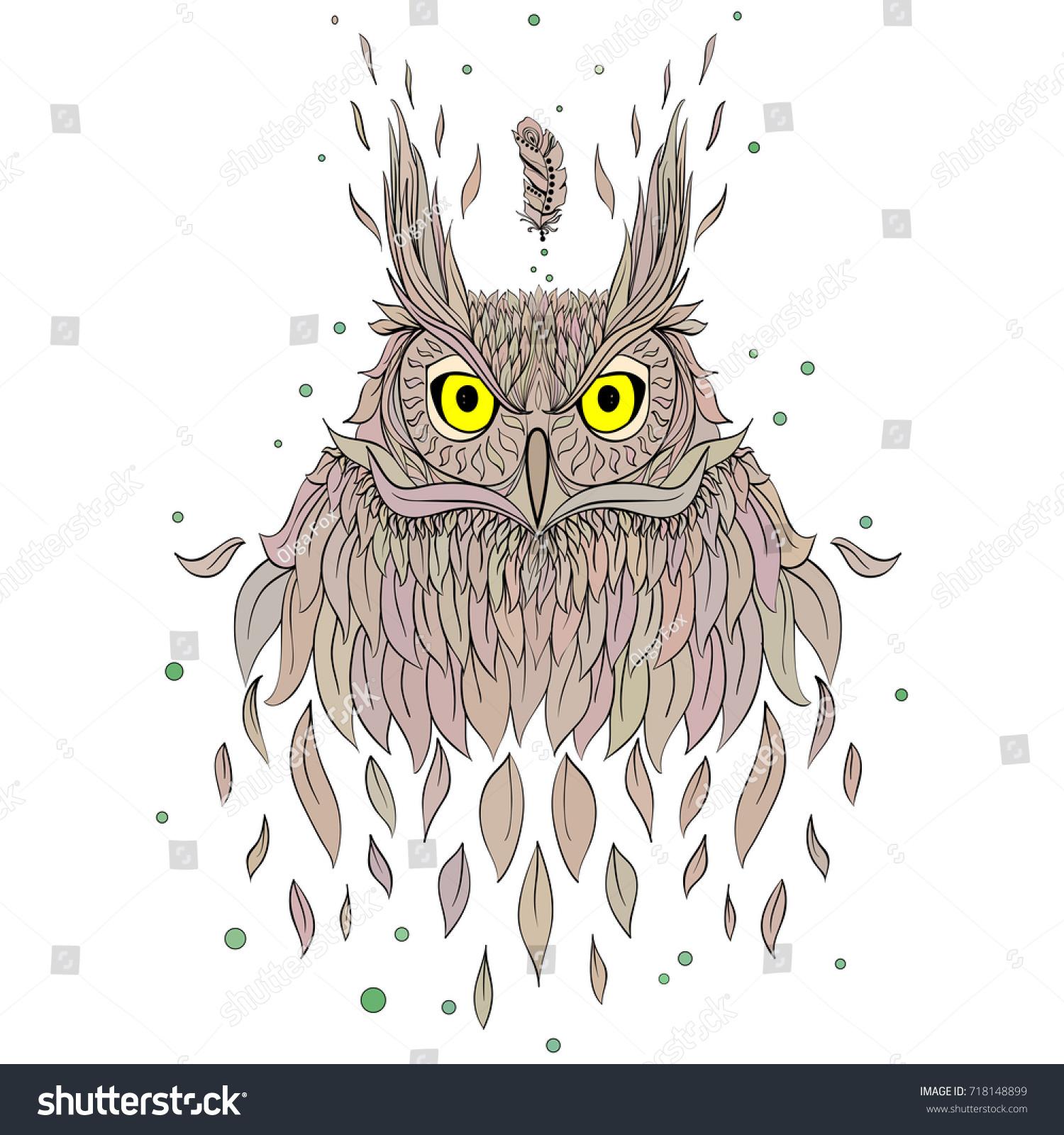 hand drawn fashion portrait geek owl stock vector 718148899