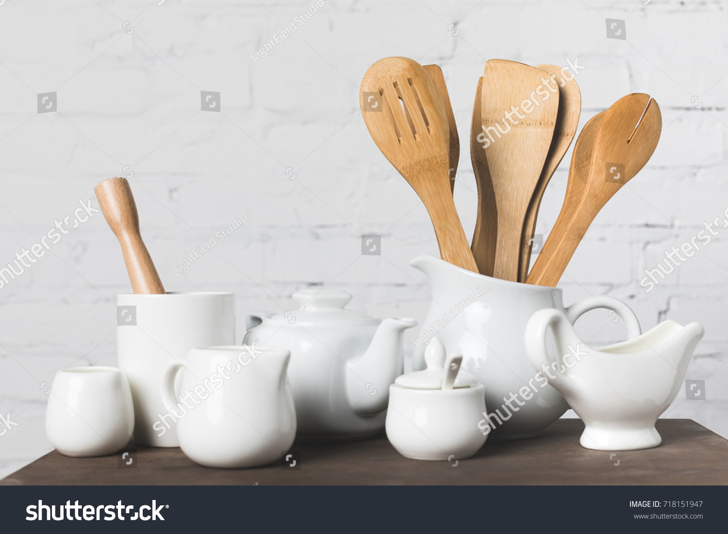 Wooden Cooking Utensils Ceramic Kitchenware On Stock Photo (Royalty ...