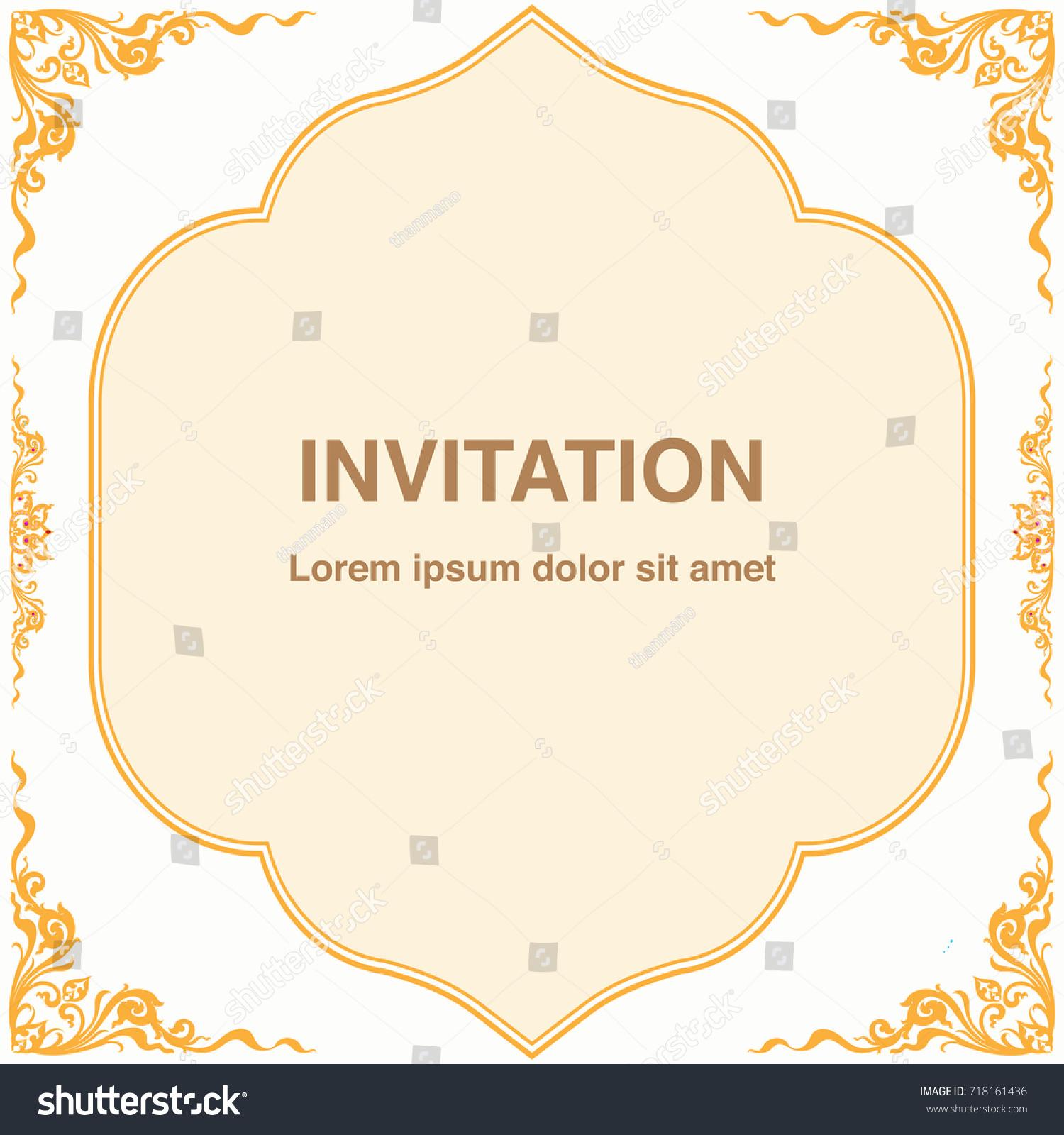 Invitation template frame border vector design stock vector invitation template frame and border vector design in thai style floral antique decorative illustration stopboris Image collections