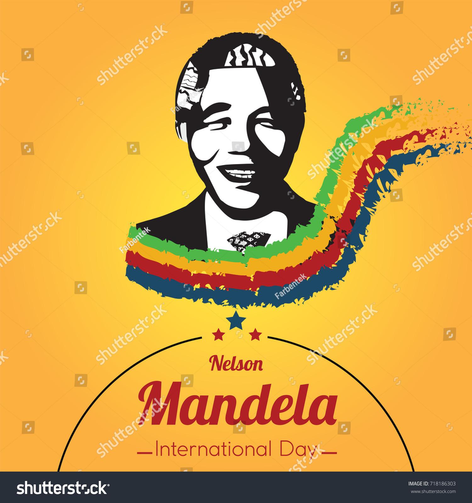 Nelson mandela international day 18 july mandela portrait silhouette conceptual illustration vector