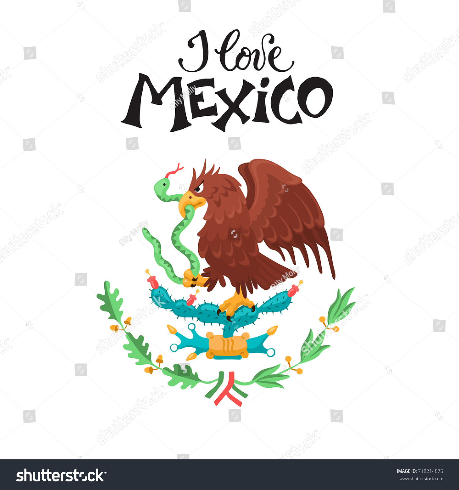 love mexico illustration mexican eagle isolated stock vector