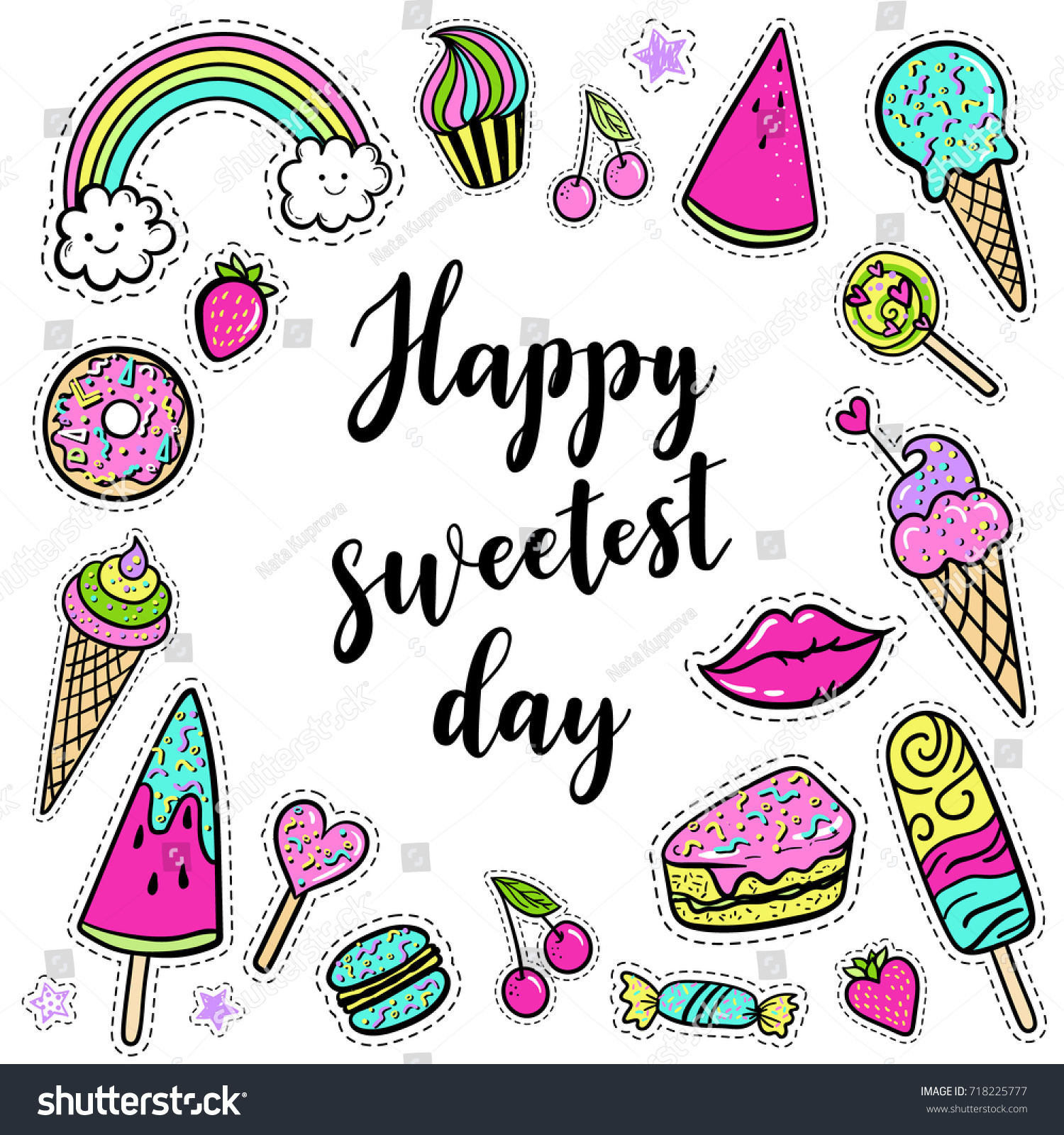 Vector Happy Sweetest Day Card Lettering Stock Vector Royalty Free