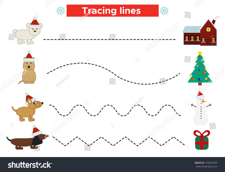 Preschool Christmas Worksheet Practicing Fine Motor Stock Vector