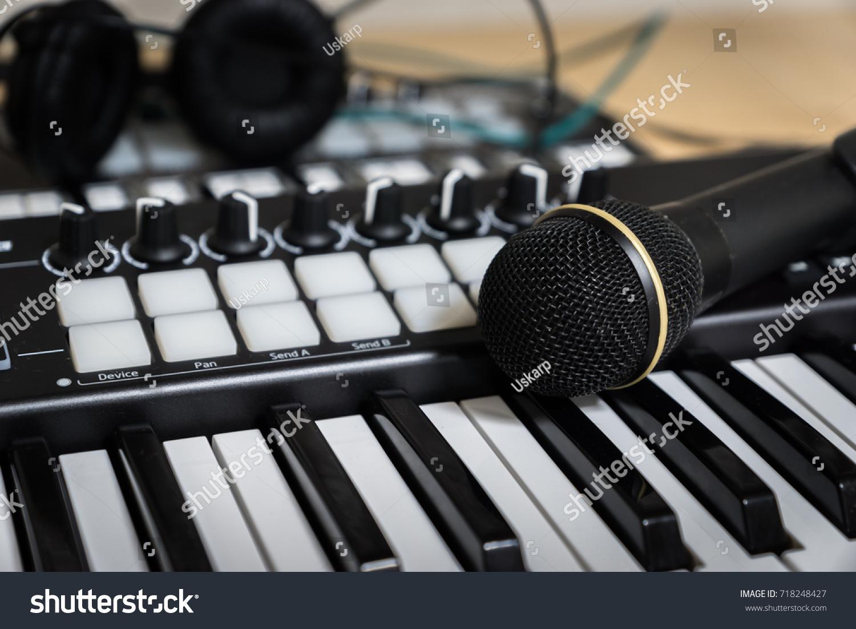 Midi Keyboard Synthesizer Vocal Microphone Closeup Stock Photo (Edit