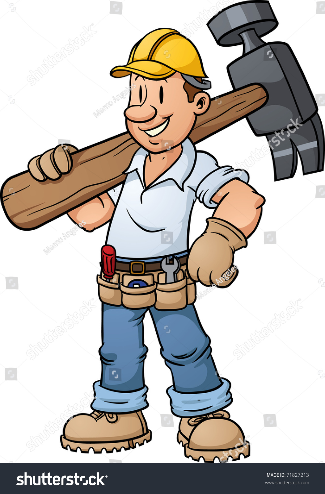 Cartoon Construction Worker Carrying Big Hammer Stock Vector ...