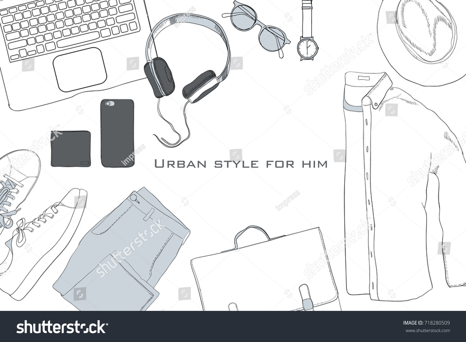 Shoe Tying Template Diagram How To Of Tie Shoes Stock Vector Illustration Hand Drawn Doodle Flat Lay Coordination Folded Shirt Trousers