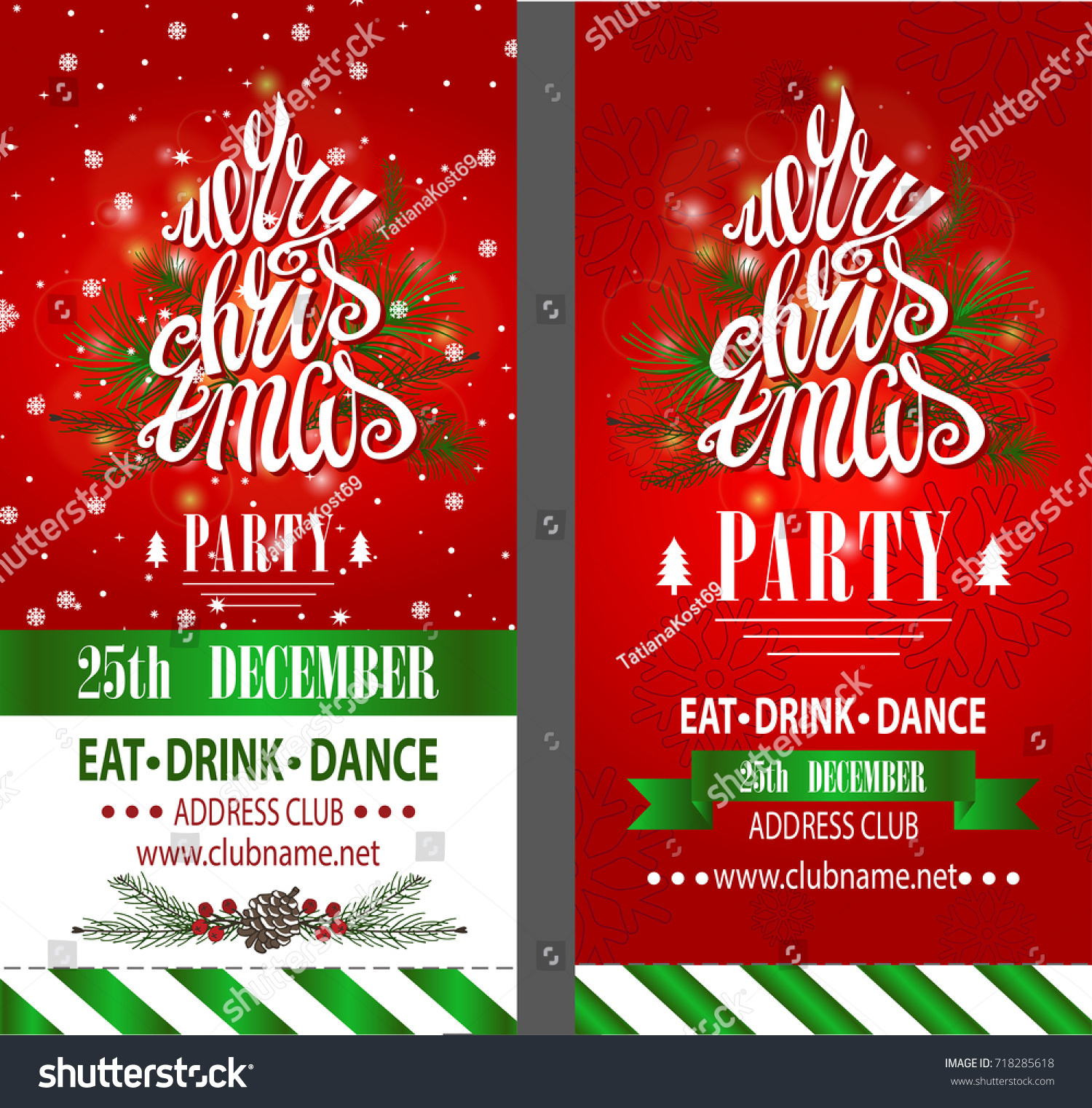 Merry Christmas Party Invitationdesign Templateflyerticket ...