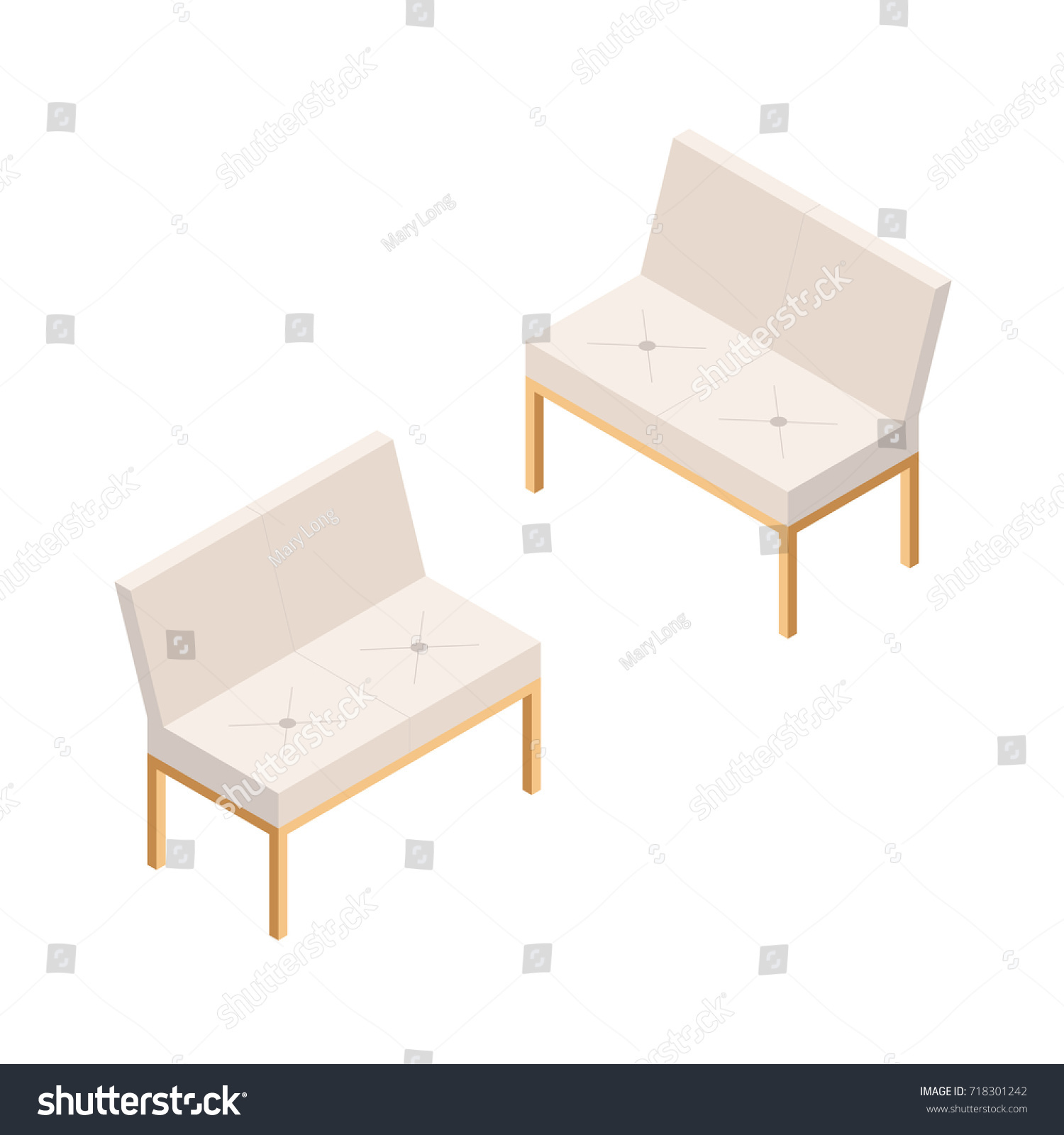 Settee Sofa Backrest Isometric View Couch Stock Vector