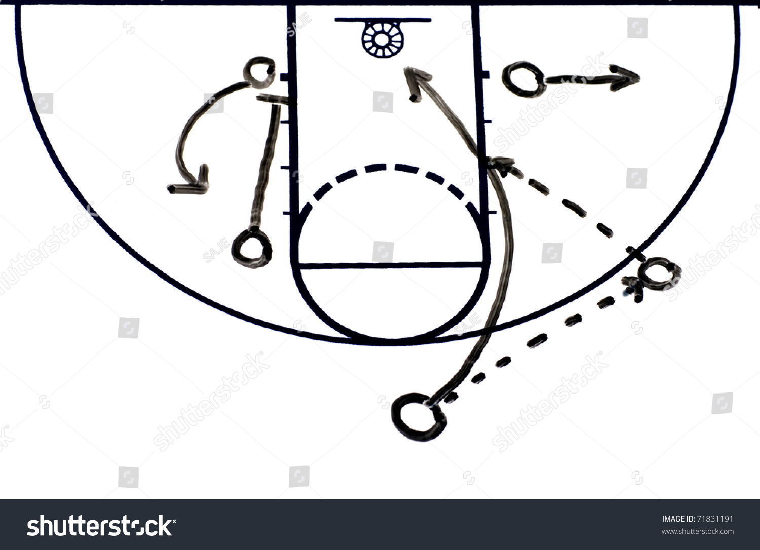 basketball background diagram on a white board showing a give and    save to a lightbox