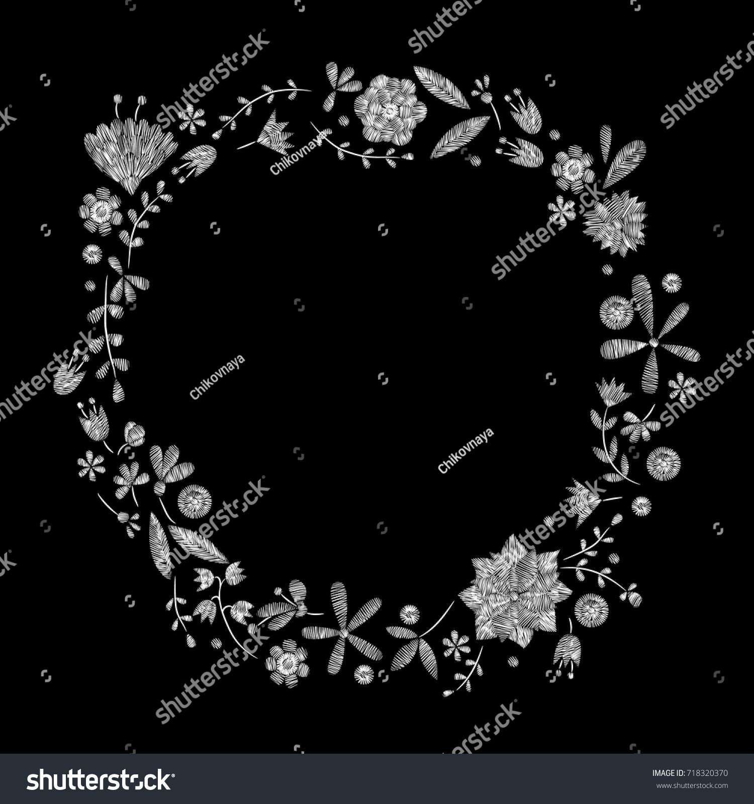 White Lace Flowers Wreath Plant Traditional Stock Vector 718320370