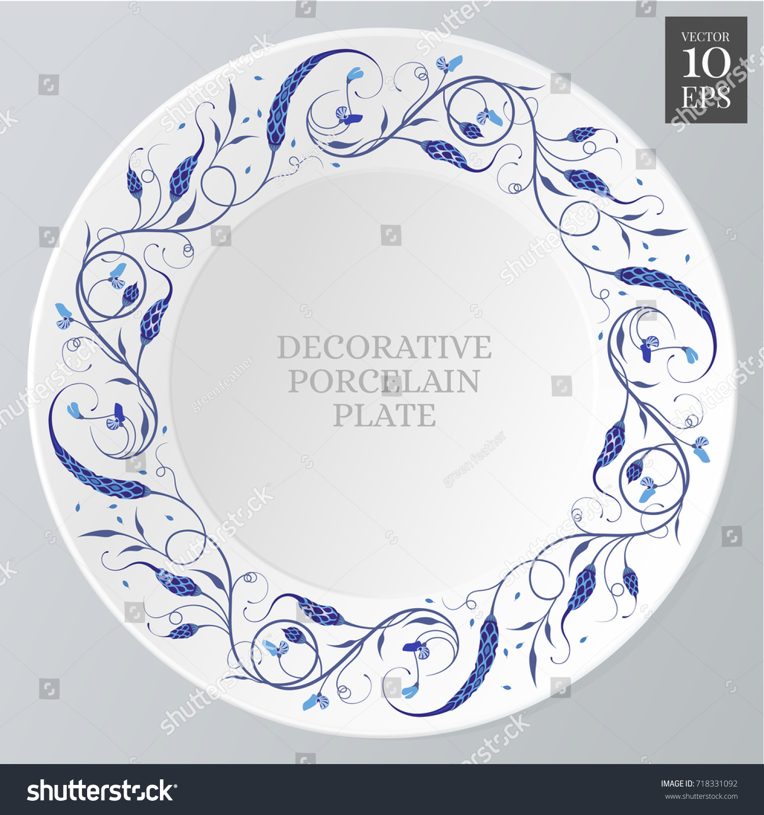 circular floral elegant ornament on porcelain stock vector