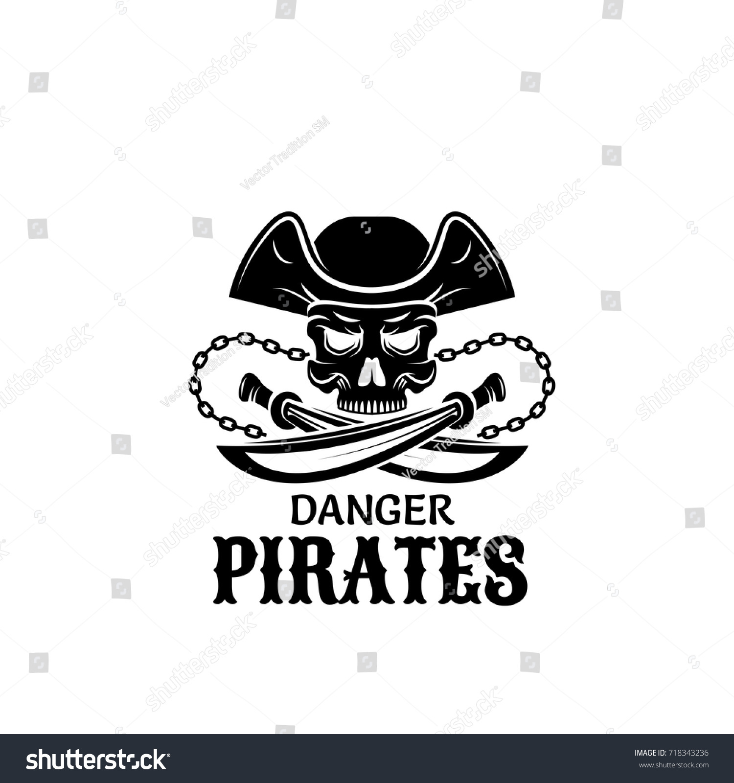 Pirate captain skull isolated symbol piracy stock vector 718343236 pirate captain skull isolated symbol piracy symbol of skeleton in captain hat with crossed sword buycottarizona Images