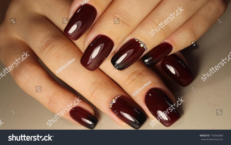 Manicure Design Nails Gradient Burgundy Black Stock Photo (Royalty ...