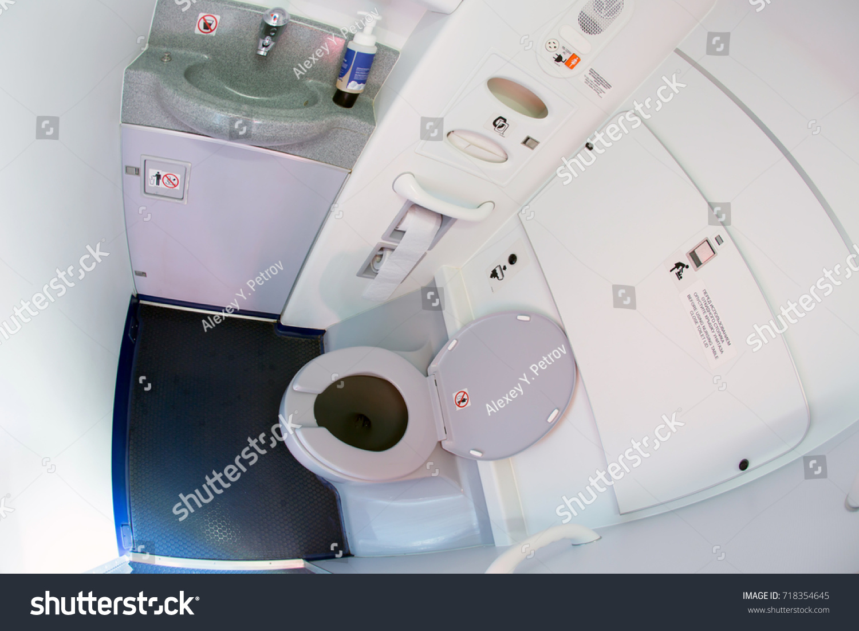 Passenger Airplane Lavatory Toilet Seat Wash Stock Photo (Edit Now ...