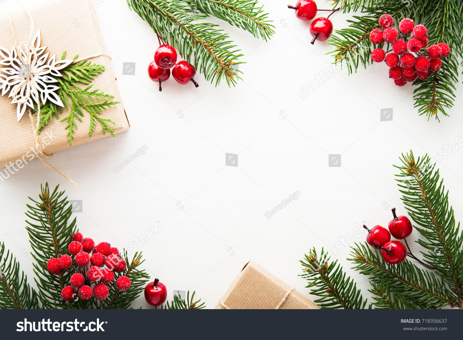Red Christmas Background With Xmas Tree And Gifts: Christmas Background Xmas Tree Gift Boxes Stock Photo