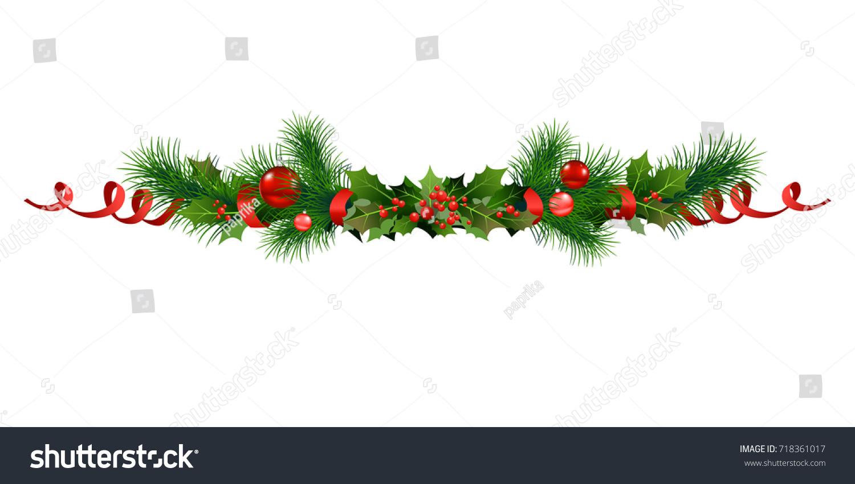 vetor stock de christmas festive poinsettia christmas tree decor