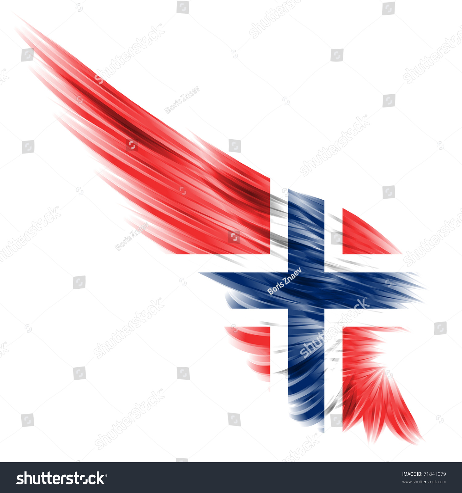 flag norwegian on abstract wing white stock illustration 71841079