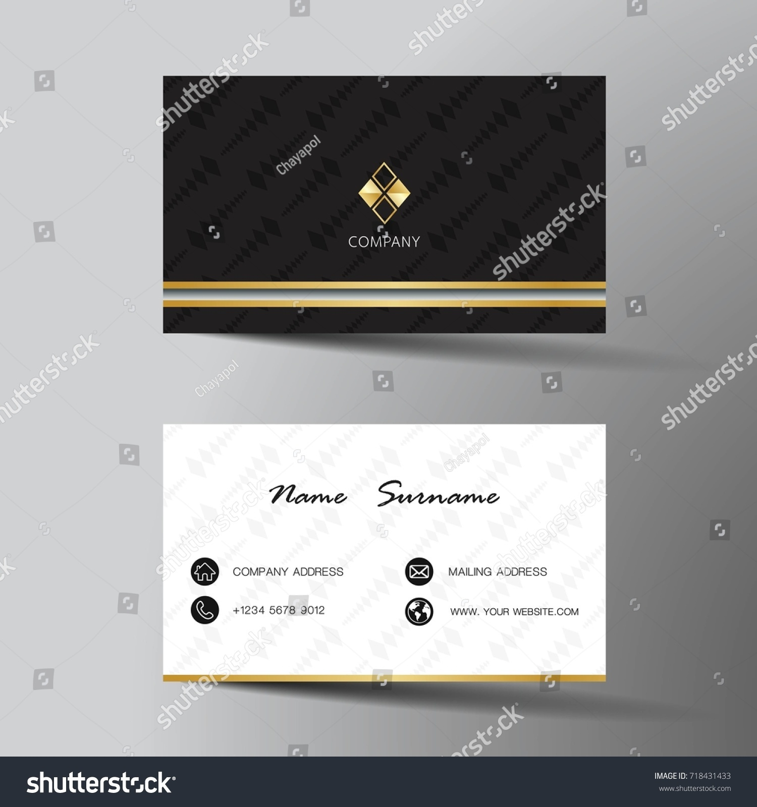 Modern business card template design inspiration stock vector modern business card template design with inspiration from the abstractntact card for company reheart Choice Image