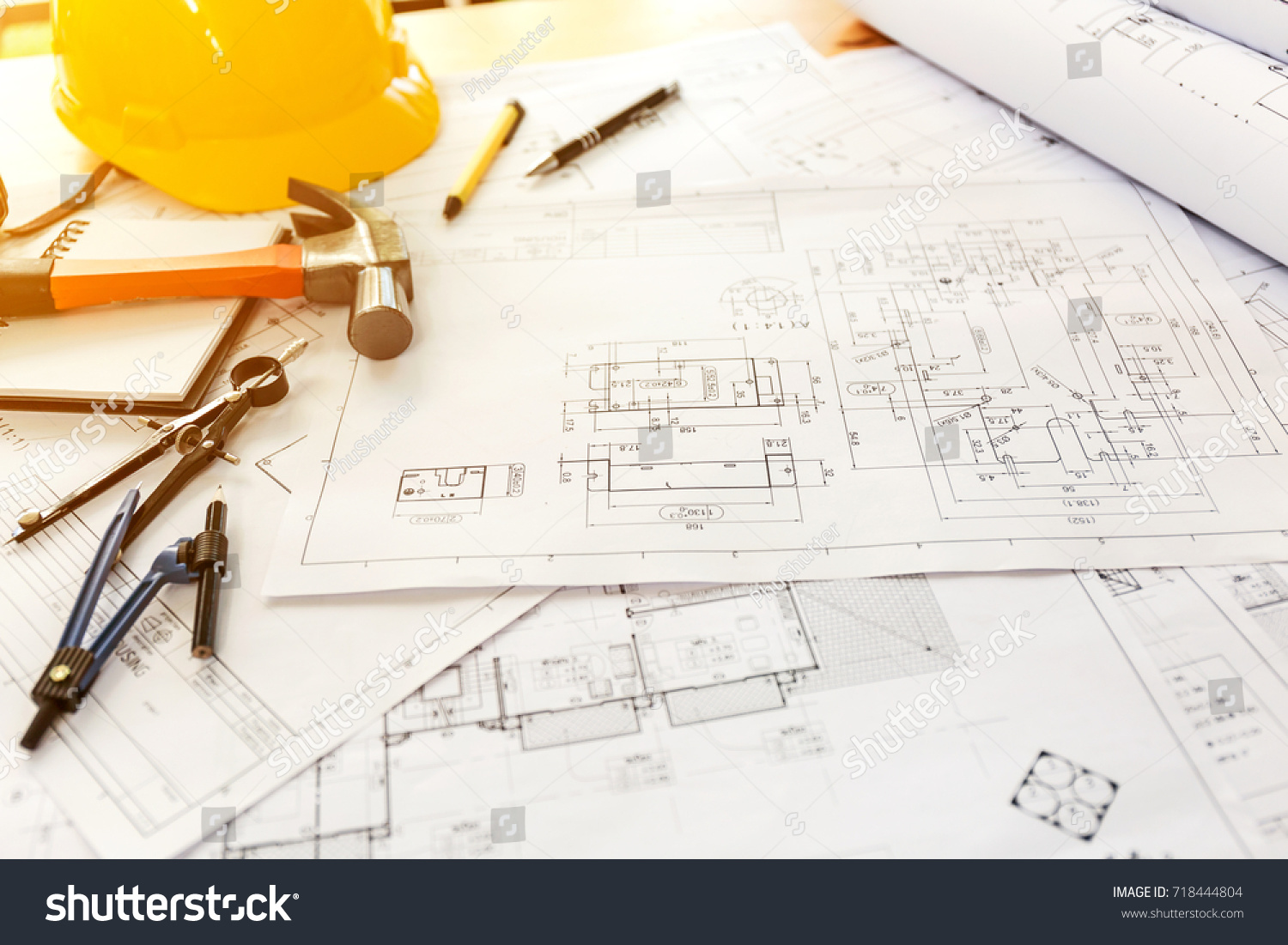 Desk architect house engineer building blueprint stock photo desk of architect house engineer building a blueprint on working project malvernweather Image collections