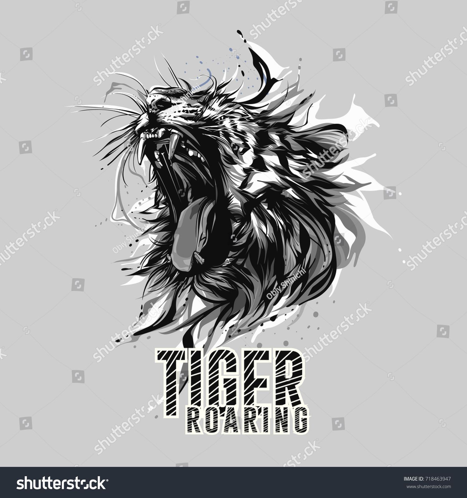 black white tiger roaring head stock vector (royalty free) 718463947