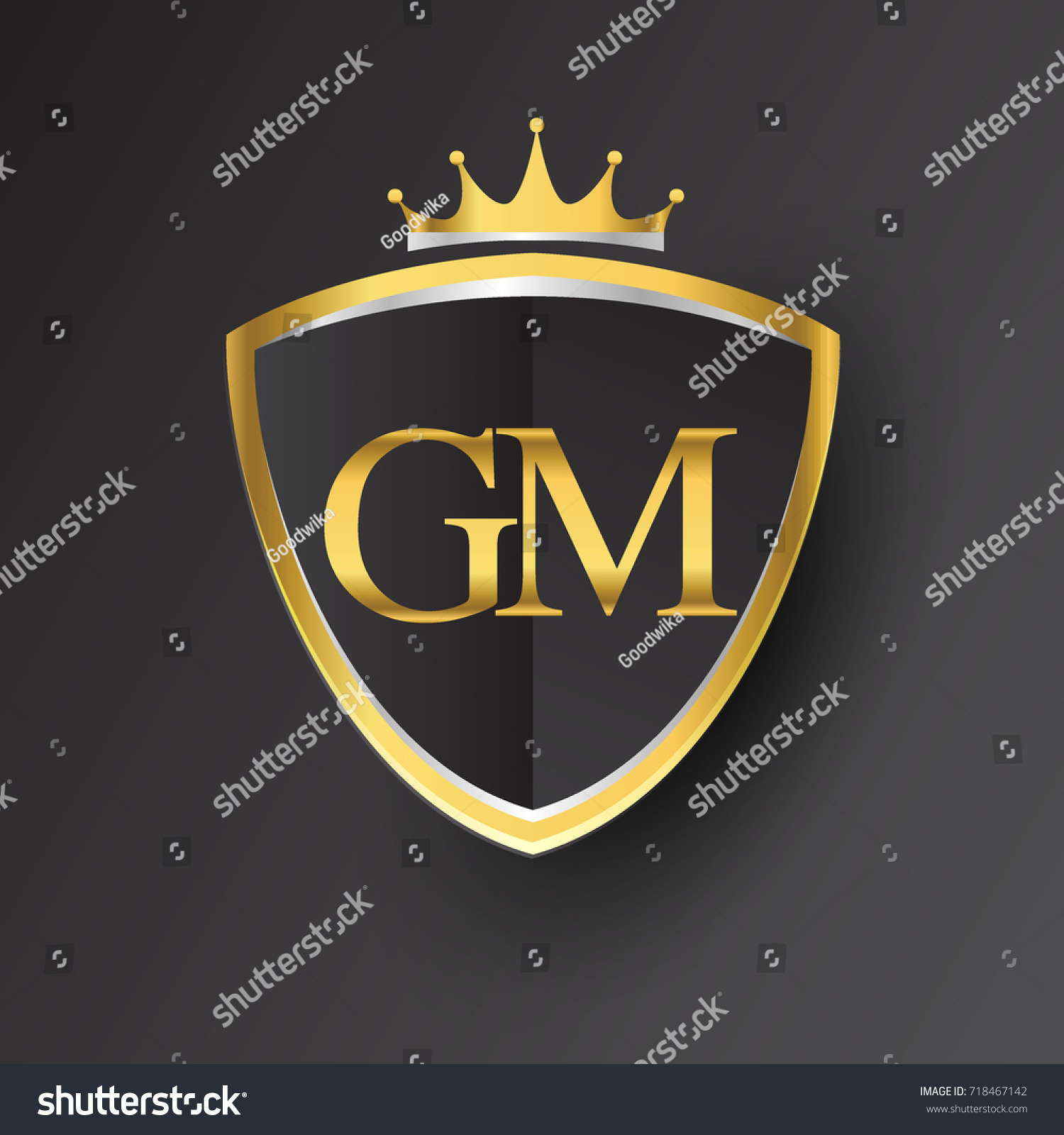initial logo letter gm shield crown stock vector royalty free