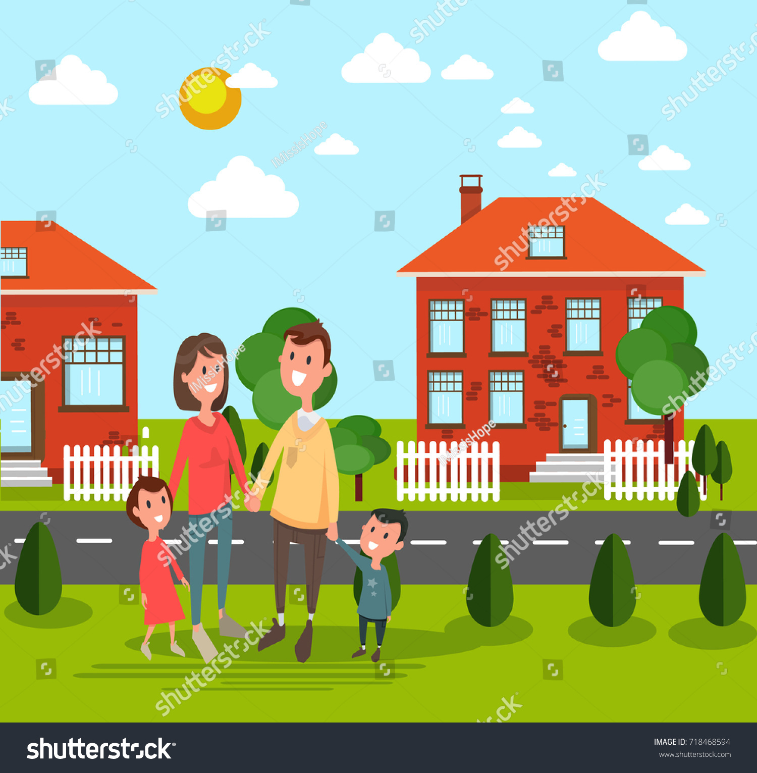 Family Husband Wife Child Buy House Stock Vector