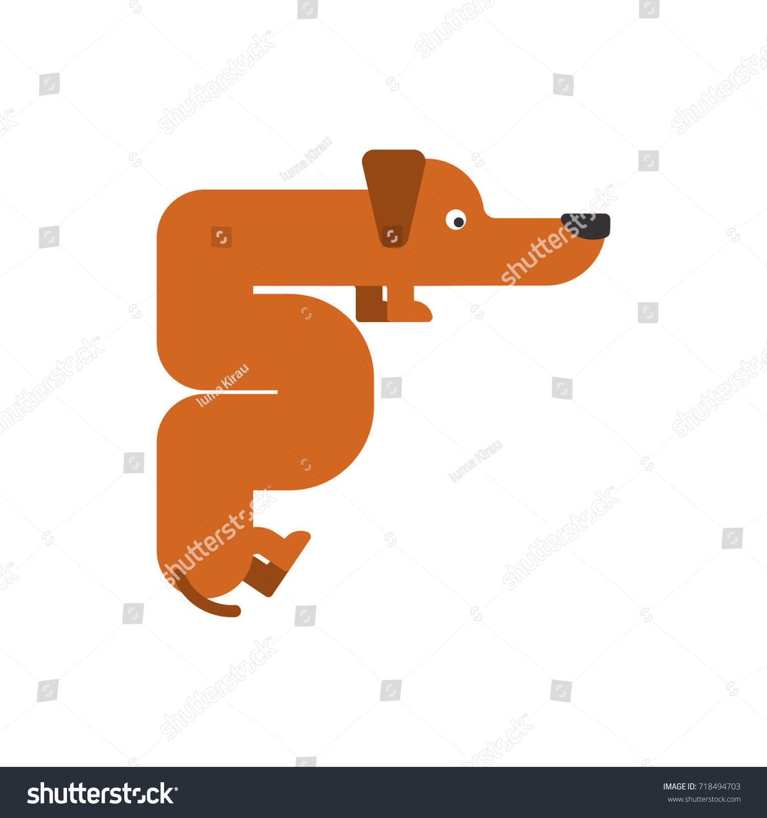 Letter F Dog Pet Font Dachshund Stock Vector Shutterstock