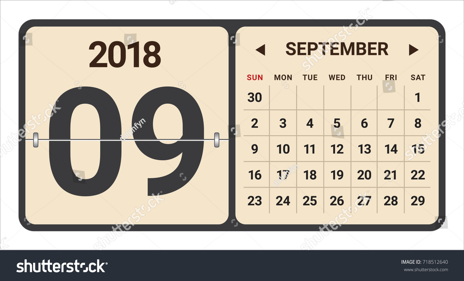 september 2018 calendar vector illustration simple and clean design