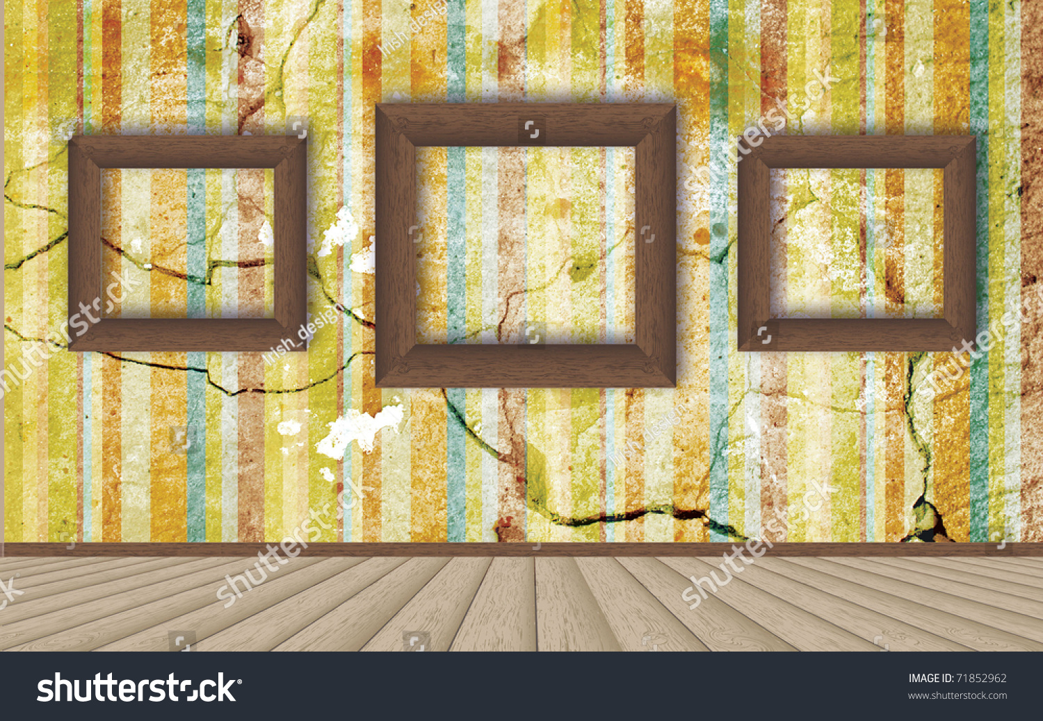 Bright Colored Walls Empty Frame On Stock Illustration 71852962 ...