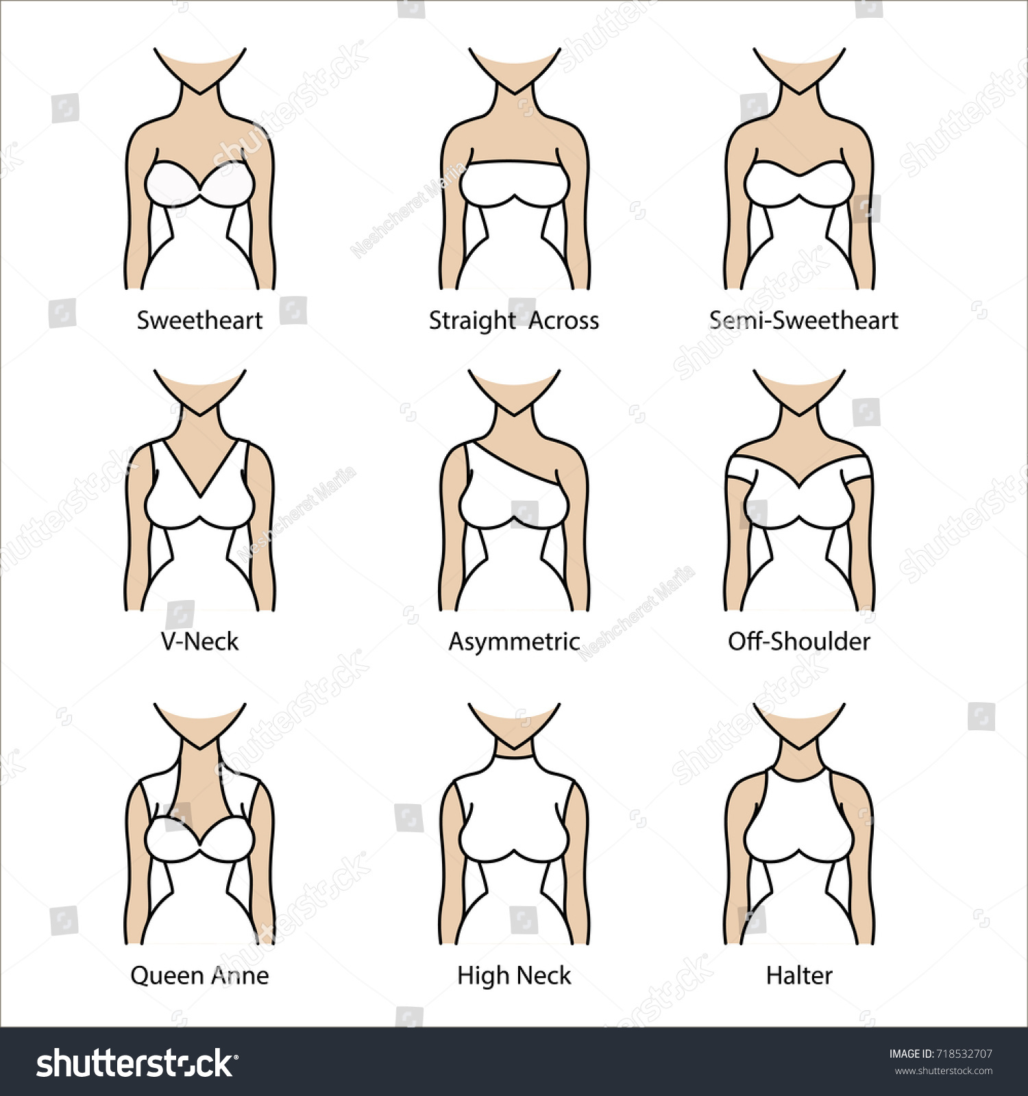 Wedding dress necklines icon types necklines stock vector 718532707 wedding dress necklines icon types of necklines for dress junglespirit