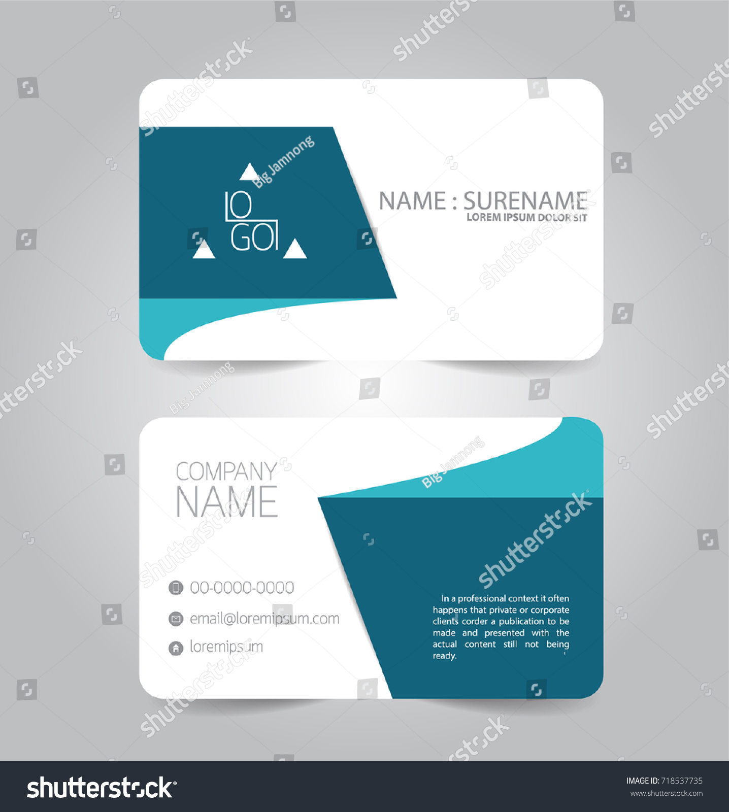 Modern Blue Business Name Card Template Stock Vector 718537735 ...