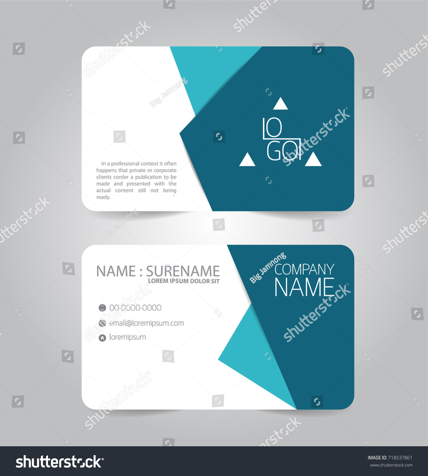 Modern Blue Business Name Card Template Stock Vector