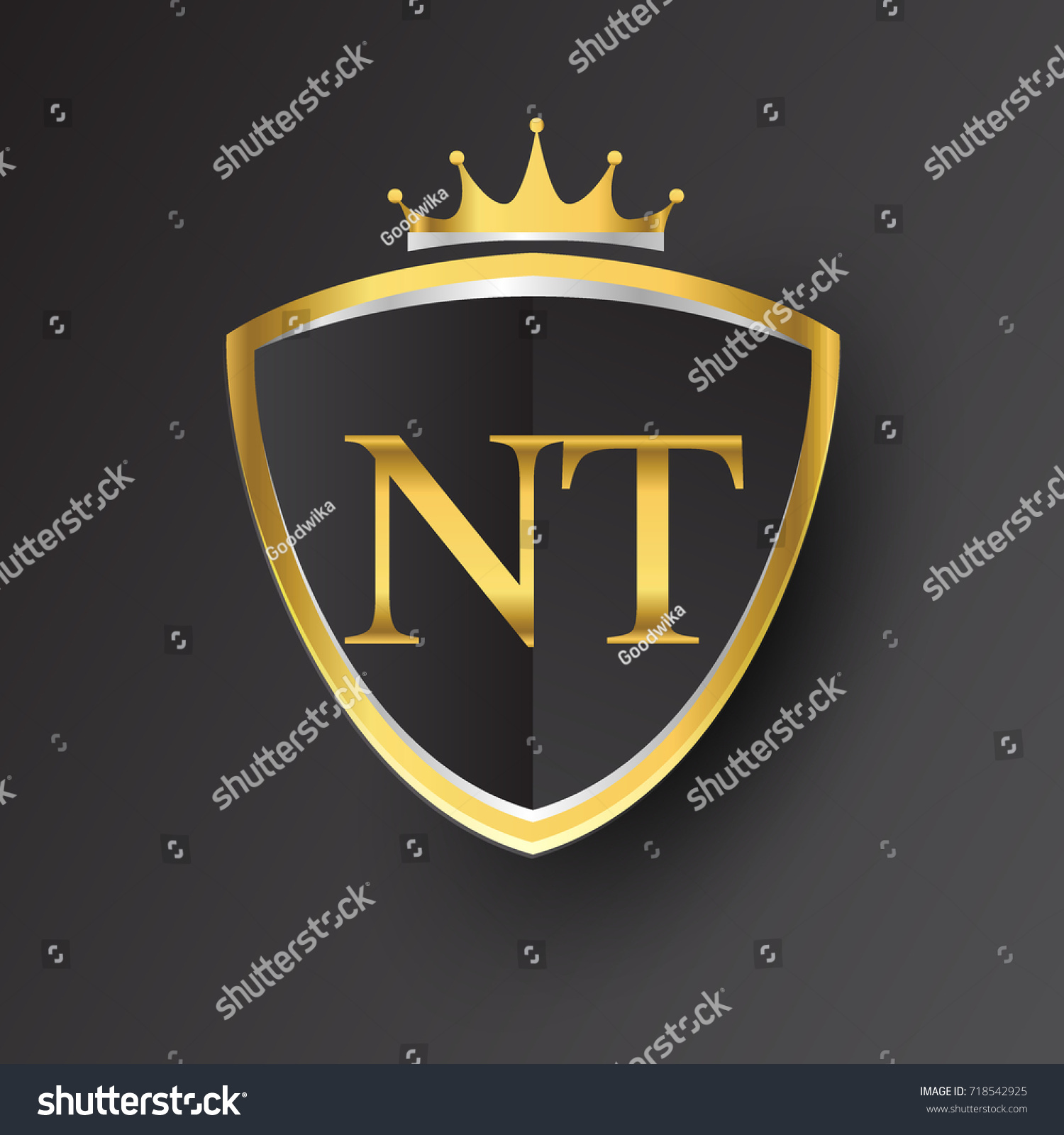 Initial Logo Letter Nt Shield Crown Stock Vector Royalty Free
