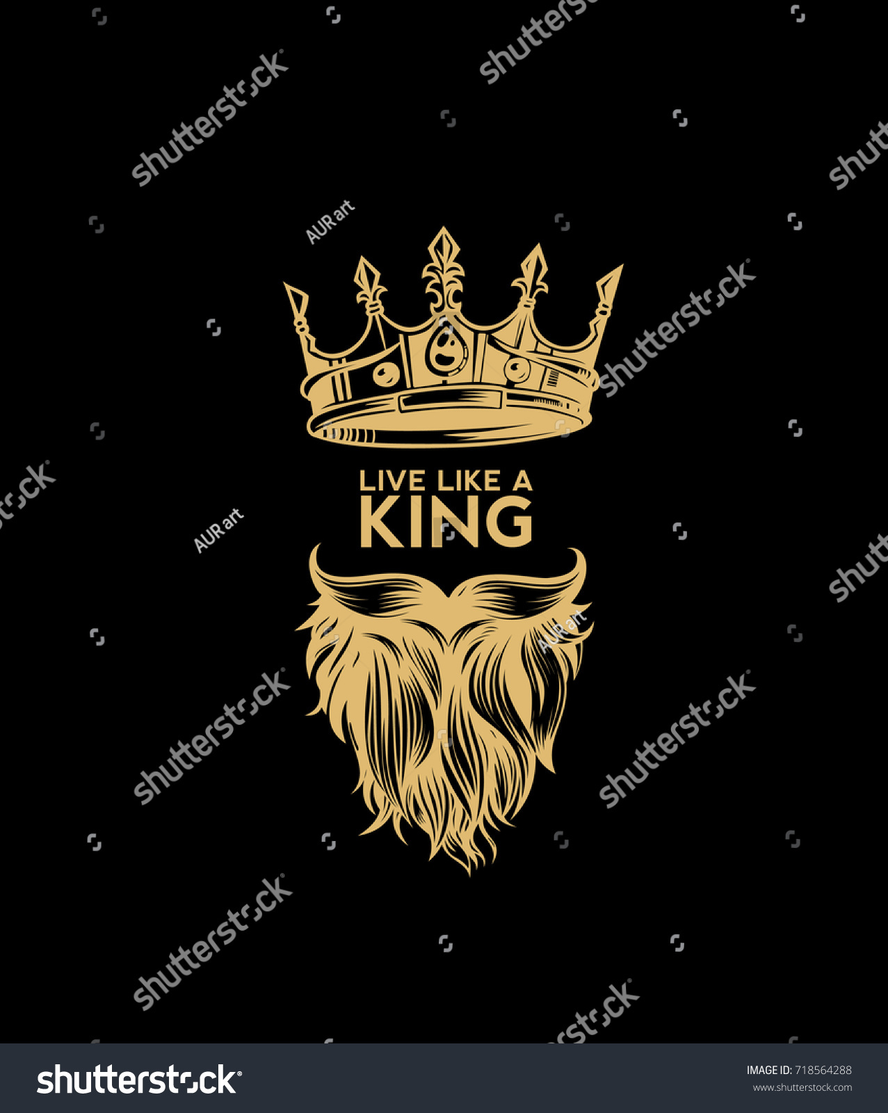 Hipster crown icon with beard and mustache king rule supreme power dictator black background yellow vector illustration