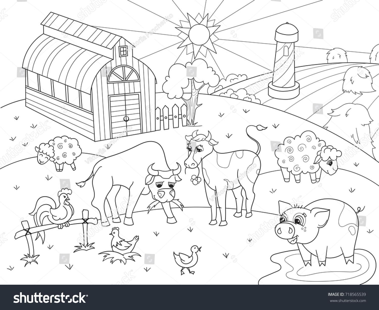 Ciftlik Hayvanlari Ve Yetiskinler Vektor Illustrasyon Stok Vektor