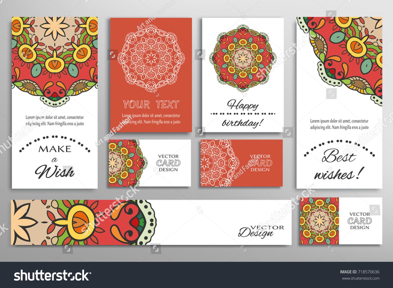 Vector Set Greeting Cards Wedding Invitations Stock Vector (Royalty ...