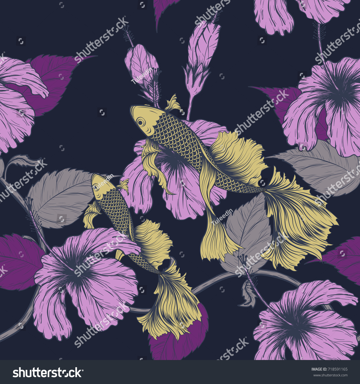 Koi Fish Hibiscus Flower Pattern By Stock Vector Royalty Free