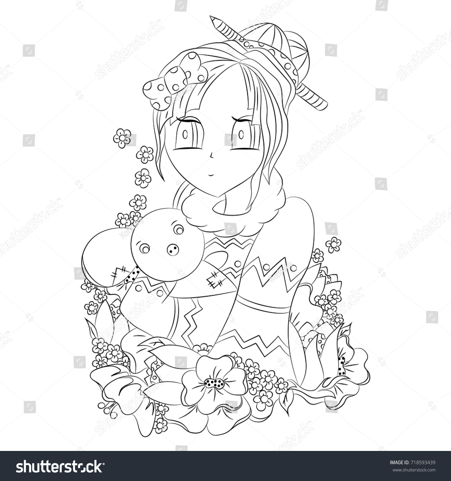 girl toy colors vector illustration anime black stock vector