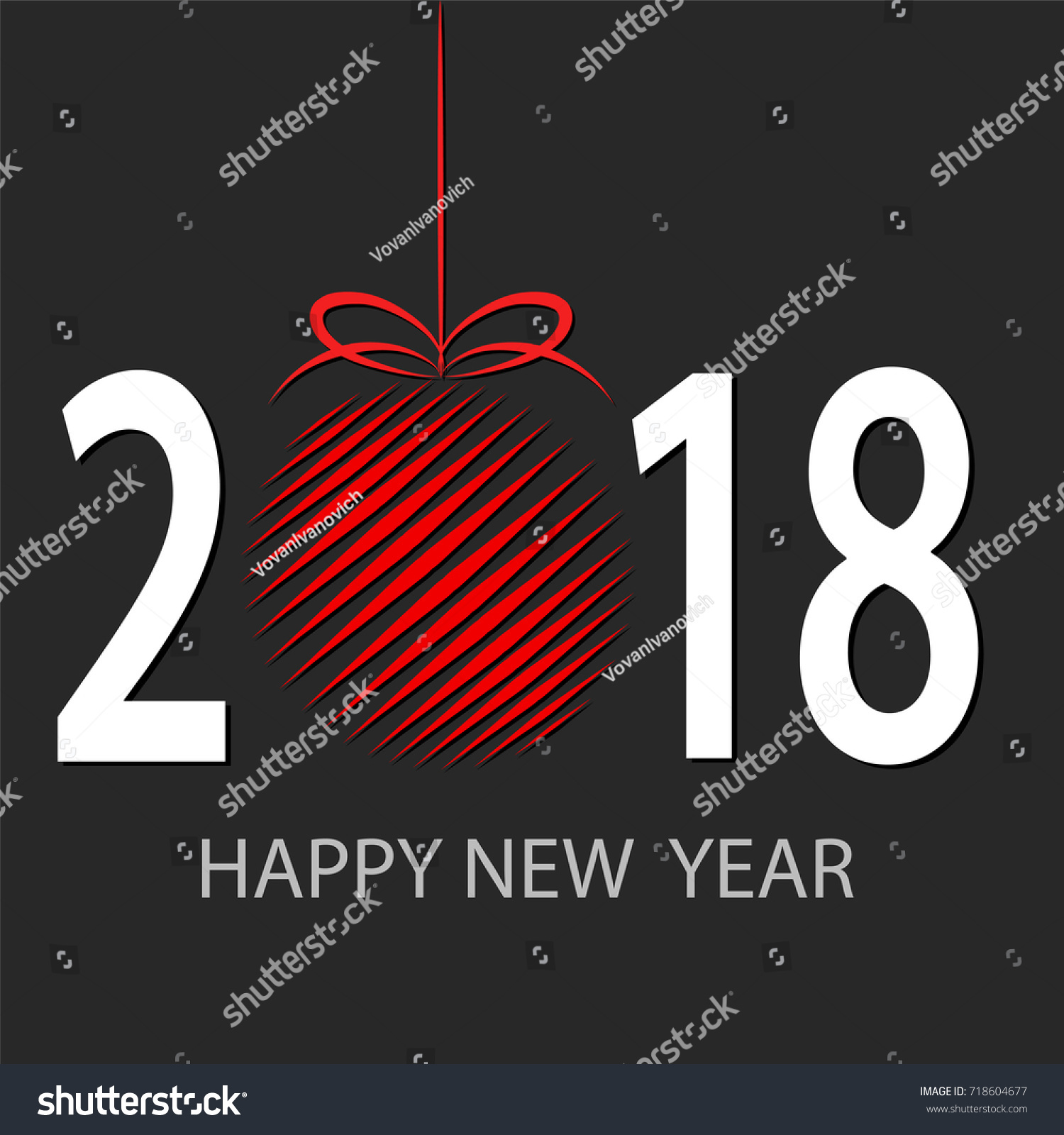 happy new 2018 year greeting card with red decor ball stock vector illustration