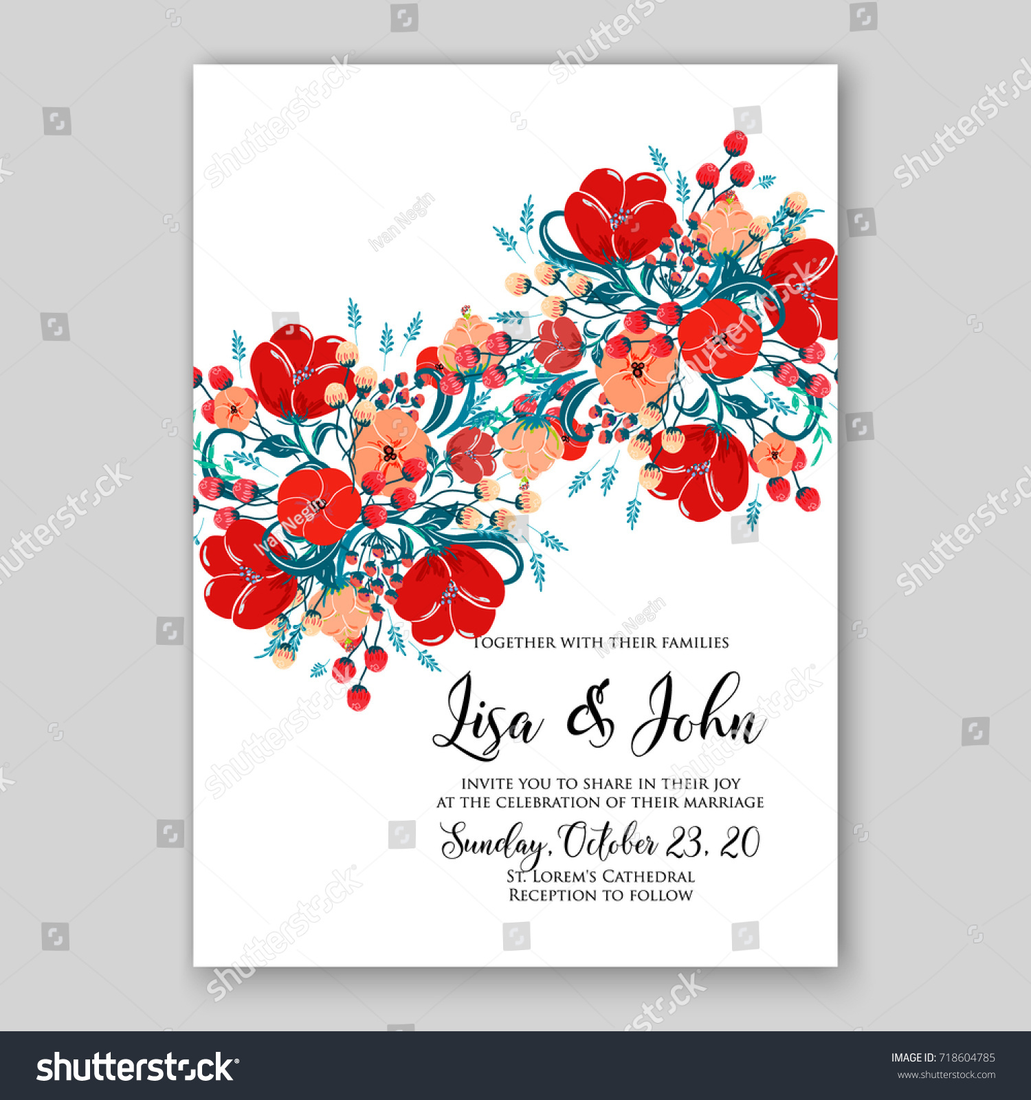 Floral Wedding Invitation Vector Template Anemone Stock Vector HD ...