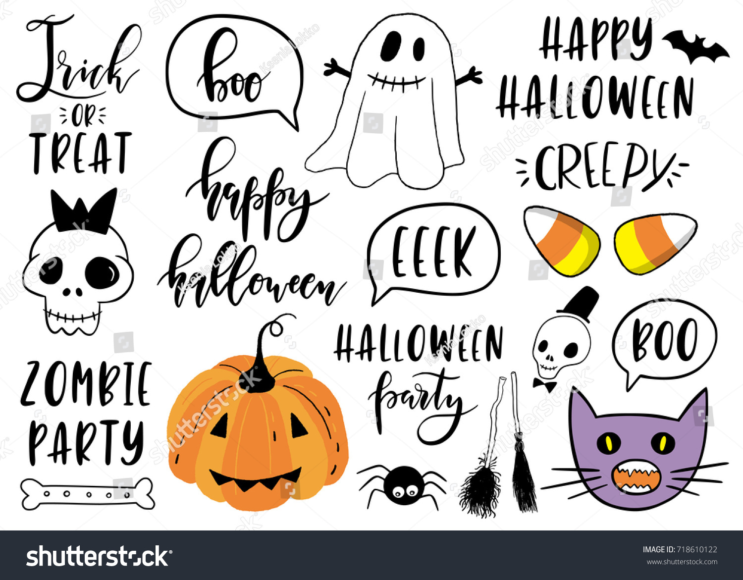 Halloween Lettering Set Pumpkin Skeleton Ghost Stock Vector ...