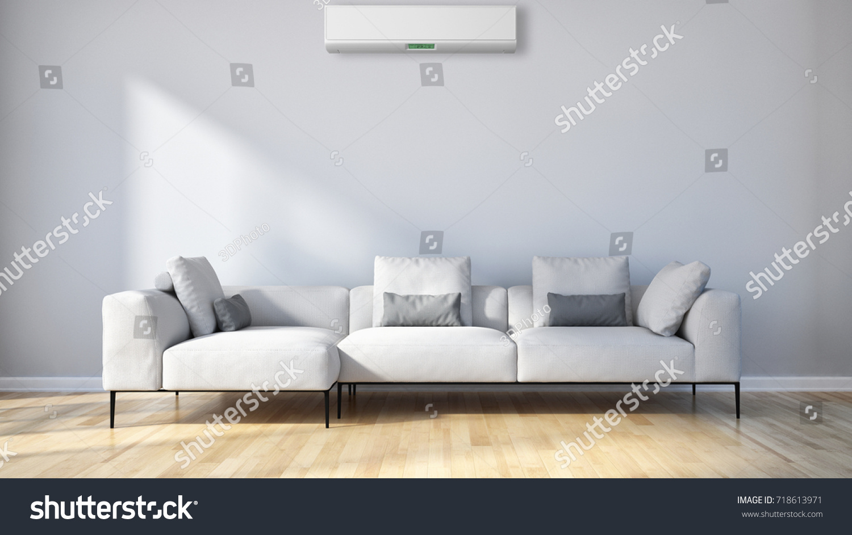 Modern Bright Living Room Air Conditioning Stock Illustration ...